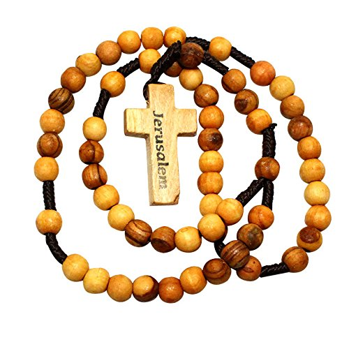 Olive Round Beads - Holy Land Rosary Round Olive Wood Beads, Jerusalem Wooden Cross Prayer Necklace