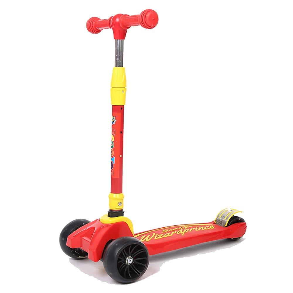 TKTTBD Kinderroller, Faltbar Kinderscooter Dreiradscooter mit PU LED Leuchtenden Räder und 3 Stufen Einstellbare Höhe Doppel-Hinterrad Big Wheel für Kinder 3-8 Jahre alt rot