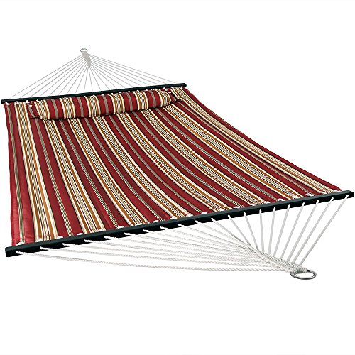 Large Hammock Pillow - Sunnydaze Quilted Fabric Hammock Two Person with Spreader Bars Heavy Duty 450 Pound Capacity, Red Stripe