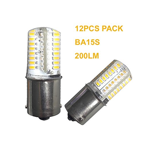 12PCS BA15S Led Bulb SMD3014 Warm White 2700-3000k DC12V AC12V Boat Car Light Replacement Bulb For RV Camper SUV MPV Car Turn Tail Reading Spot Backup Lights 360°Beam