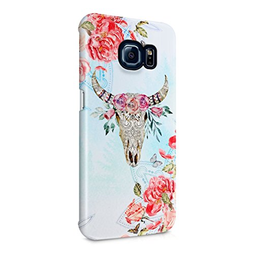 (Ornamented Wild Bull Skull With Red Rose Blossoms Hard Plastic Phone Case For Samsung Galaxy S6 Edge Plus)