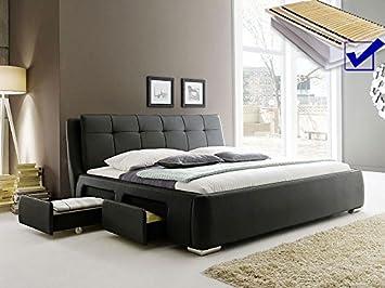 Polsterbett Schwarz Bett 160x200 Lattenrost Matratze