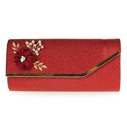 Mujer Señoras Noche Boda Nupcial Fiesta Paseo Diamante Brillar Rectángulo Bolsa de mano Bolso de embrague Rojo
