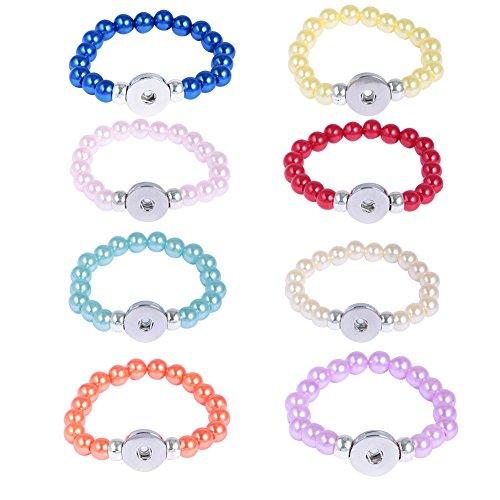 Resin Stretch Bracelet (Soleebee 8 pcs Pure Color Round Resin Beads Stretch Bracelet Snap Button Bracelet Fit 18mm Charms (Dark blue/Pink/Red/Orange))