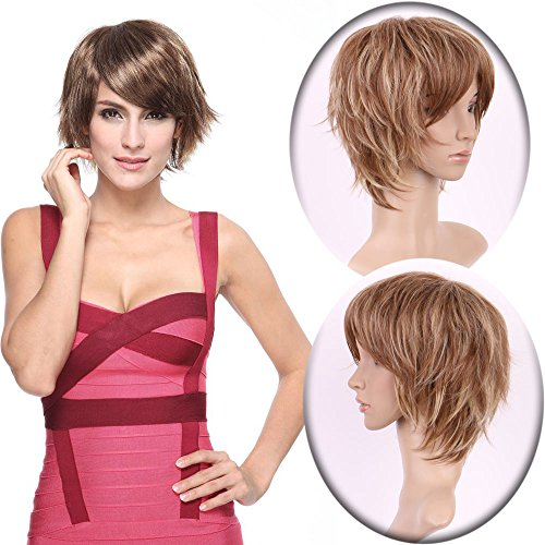 Fashion short Body Wave Wigs with Oblique Fringe for Women Daily Costume Wear Heat Resistant Synthetic Fiber (Brown (Janet Collection New Body)