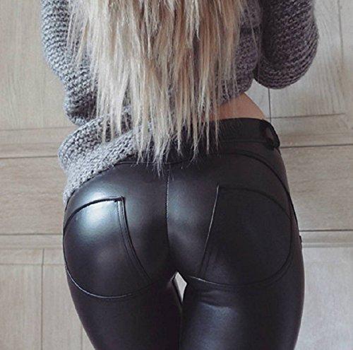 Minetom Femmes Sexy Taille Haute Moulante Élastique Leggings Aspect Cuir PU Crayon Slim Collants Sport Danse Basique…