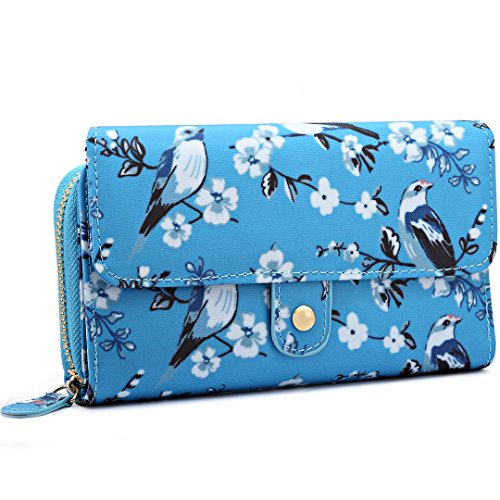 Miss Lulu Ladies Grey Bird Flower Handbag Cross Body Messegner Satchel Bag Purse Baby Changing Bag 6682 Blue