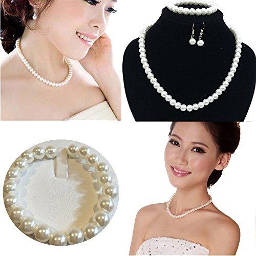 Imitation Earrings Necklace Bracelet (Luxury Jewelry,Han Shi Hot Sale Bridal Wedding Party Necklace Earrings Bracelet Set Xmas Gift (White, L))