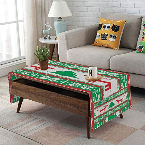 iPrint Linen Blend Tablecloth,Side Pocket Design,Rectangular Coffee Table Pad,Christmas Decorations,Knit Style Graphic Reindeer Star Snowflake Holiday Family Decor,Red Green White,for Home ()