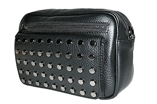 in tachuelas 100 cuero clutch OLGA Bolso Black Made BORDERLINE con genuino de Italy qf46np