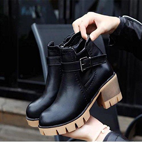 Transer® Damen Mädchen Blockabsatz Stiefel & Stiefeletten Kurz Martin Stiefel (Bitte achten Sie auf die Größentabelle. Bitte eine Nummer größer bestellen. Vielen Dank!) Schwarz