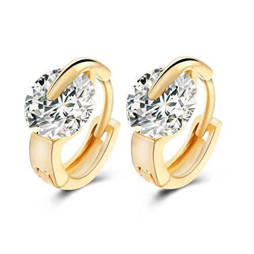 Elegant 18k Gold Silver Plated Round Shaped Cubic Zirconia Hoop Earrings ( Gold )