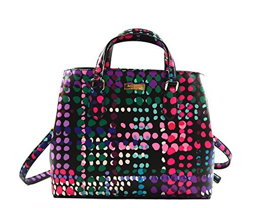 Kate Spade Evangelie Laurel Way Dotty Plaid Shoulder Bag Purse Handbag, Black Multi