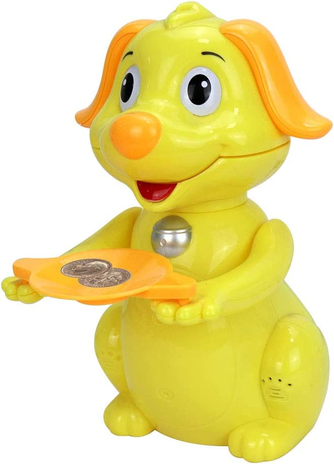 Yadale Kids Coin Bank,Hungry Lucky Dog Large Coin Money Banks , Animal Piggy Bank Gifts for Children (Yellow)
