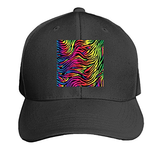 (Rainbow Zebra Print Men's Structured Twill Cap Adjustable Peaked Sandwich Hat)