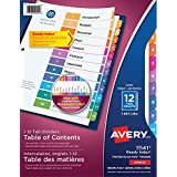 Avery Ready Index Table of Content Dividers for Laser and Inkjet Printers, 12 tabs, Multi-colour, 1 Set, (11141)