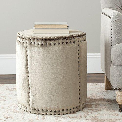 Safavieh Mercer Collection Paula Ottoman, Antique Sage (Round Storage Ottoman Suede)
