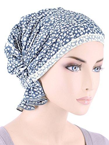 Abbey Cap Womens Chemo Hat Beanie Scarf Turban Headwear For Cancer Ruffle Blue White Animal - Ruffle Cap