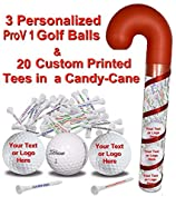 3 Prov1 Golf Balls and 20 Personalized tees in Candy Cane Packaging