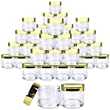Beauticom 180 Pieces 30G/30ML(1 Oz) Round Clear Jars with Metallic GOLD Flat Top Lids for Herbs, Spices, Loose Leaf Teas, Coffee & Other Foods- BPA Free