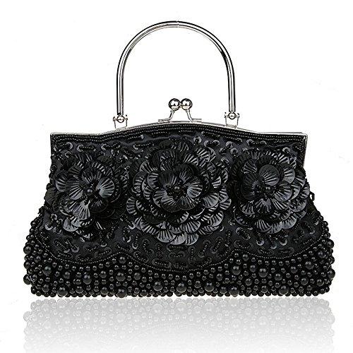 Handbags for Flower Purse Bags Party Black Purse Cocktail Crossbody Evening Women Convertible 6FOnOw1qC