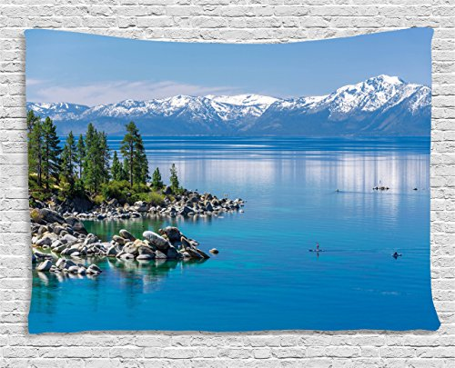 Tapestry, Blue Waters of Lake Tahoe Snowy Mountains Pine Trees Rocks Relax Shore, Wall Hanging for Bedroom Living Room Dorm, 60 W X 40 L Inches, Light Blue Green Grey ()