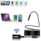 IP68 Wireless Endoscope,WiFi Borescope Inspection Camera 2.0 Megapixels HD 1200P Snake Camera with 8 Leds for Android and IOS Smartphone,iPhone,Samsung,Tablet(5 Meter)