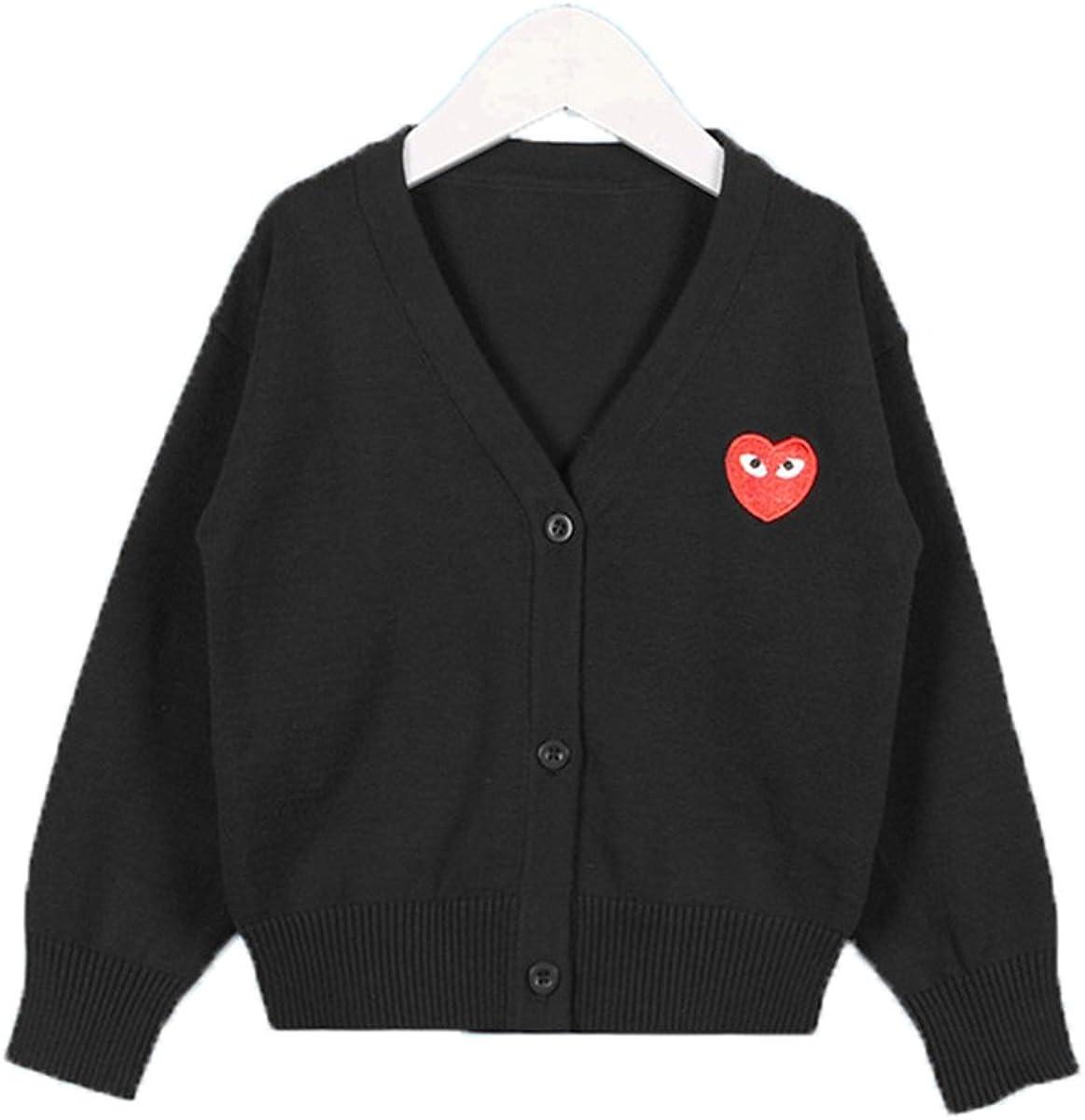Lemonkid Trendy Unisex Kids V Neck Heart Embroidery Cotton Knit Cardigan Sweater
