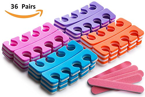 Pack of 36 Pairs  Soft Two Tone Foam Toe Separators, Toe Spacers, Great Toe Cushions for Nail Polish, Pedicure, Manicure, and Other Uses, Includes 8 Pink Mini Nail Buffering Files