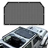 for Jeep Wrangler JL Mesh Shade Top Cover UV Protection Sunshade Net Roofs 2-Door & 4-Door Models (Black)