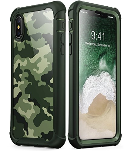 i-BLASON Funda para iPhone X, [Ares] Apple iPhone 10 Funda de Parachoques Transparente con Protector de Pantalla para Apple...