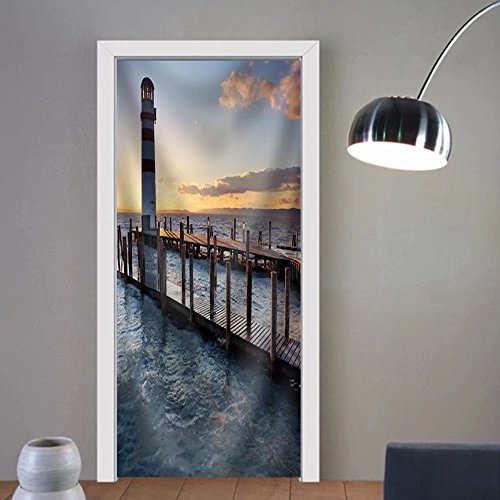 Gzhihine custom made 3d door stickers Lighthouse at Lake Neusiedl at Sunset Fabric Home Decor For Room Decor 30x79 by Gzhihine