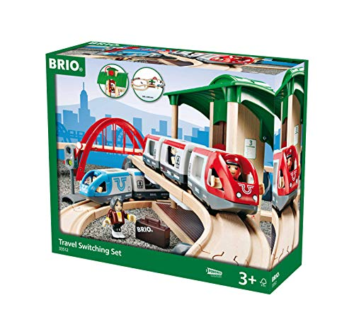 BRIO World - 33512 Travel Switching Set | 42 Piece Train Toy with Accessories and Wooden Tracks for Kids Ages 3 and Up