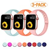 R-fun Slim Bands Compatible with Apple Watch Band 40mm Series 4 38mm Series 3/2/1, 3 Pack Soft Silicone Sport Strap Wristband for Women Men Kids with iWatch, Papaya/Turquoise/Pink