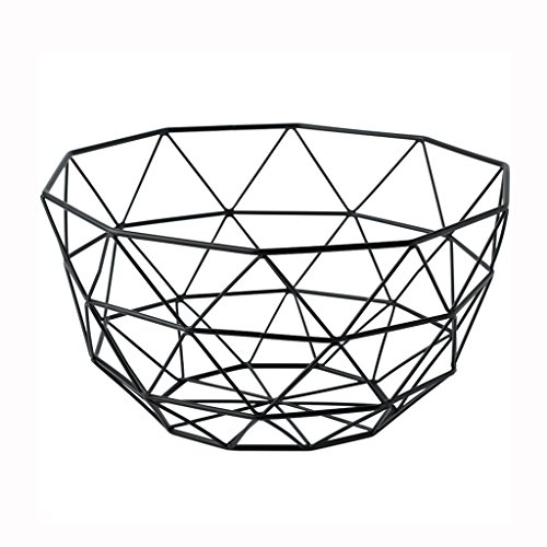 He Xiang Ya Shop Black iron storage basket simple living room hollow fruit basket desktop storage rack decorative ornaments by He Xiang Ya Shop