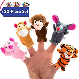 Better Line 20-Piece Story Time Finger Puppets Set - Cloth Puppets with 14 Animals Plus 6 People Family Members