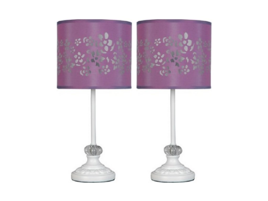Your Zone White Pole Lamp with Purple Cut-out Shade set of two