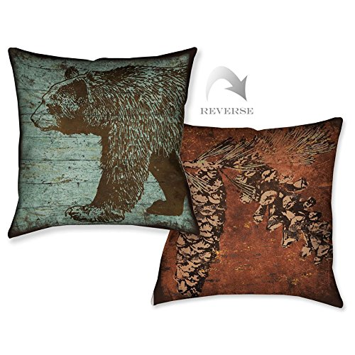 Pine Forest Bear - Vintage Bear and Pinecone Pillow