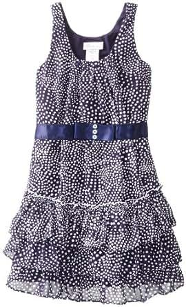 Bonnie Jean Little Girls Sleeveless Printed Dot Chiffon with Tiered Skirt, Navy, 4