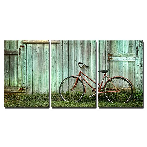 wall26 - 3 Piece Canvas Wall Art - Old Bicycle Leaning Against Grungy Barn - Modern Home Decor Stretched and Framed Ready to Hang - 16