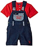 U.S. Polo Assn. Baby Boys T-Shirt and Short Set, Athletic Dept Chest Coverall Knit Top Multi Plaid, 24M