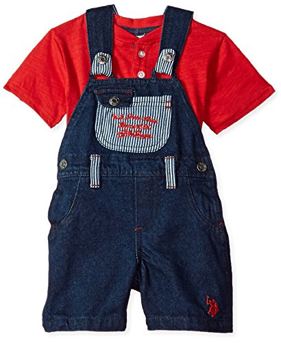 U.S. Polo Assn. Baby Boys T-Shirt and Short Set, Athletic Dept Chest Coverall Knit Top Multi Plaid, 12M -