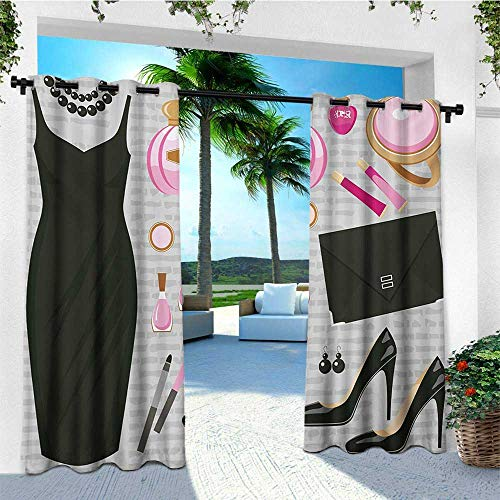 leinuoyi Heels and Dresses, Outdoor Curtain Extra Long, Black Smart Cocktail Dress Perfume Make Up Clutch Bag, Outdoor Curtain Set for Patio Waterproof W120 x L108 Inch Black Pale Pink Pale Brown ()