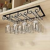 TY&WJ Under Cabinet Hanging Shelves,Vintage Wine Glass Rack,Organizer Storage Cup,Goblet Drying Shelf,Stemware Holder for Home bar,Holds up to 8 Glasses-Black A 40x22.5cm(16x9inch)