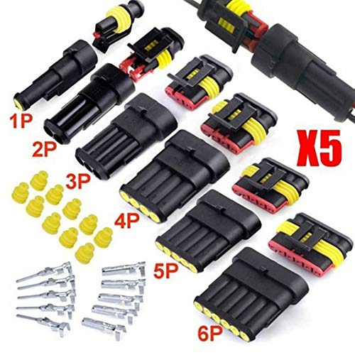 YSHtanj Car Connector Car Interior Parts Connector 5 Sets Kit 1/2/3/4/5/6 Pins Car Sealed Waterproof Electrical Wire Connector Plug: Amazon.co.uk: Lighting