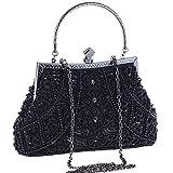 BABEYOND 1920s Flapper Clutch Gatsby Pearl Handbag Roaring 20s Evening Clutch Beaded Bag 1920s Gatsby Costume Accessories (Black)