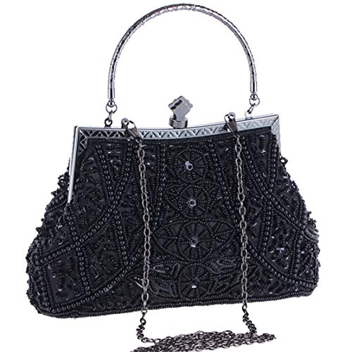 BABEYOND 1920s Flapper Clutch Gatsby Pearl Handbag Roaring 20s Evening Clutch Beaded Bag 1920s Gatsby Costume Accessories (Black) ()