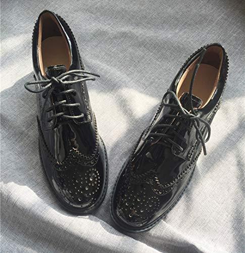 Zapatos Plataforma Elegantes Cordones Negro Brogue Annieshoe Comodos Tacon Mujer Patent De dpHUdwFq