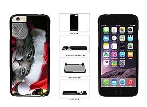 Cute Cat in Santa Hat Plastic Phone Case Back Cover Apple iPhone 6 (4.7 Inches)