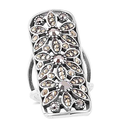 Hematite Stainless Steel Ring (Marcasite, Hematite Black Oxidized Stainless Steel Ring Size 8)